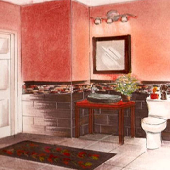 ASID Southern Arizona design competition sketch for guest bathroom.