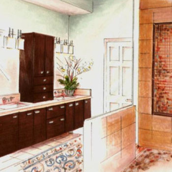 ASID Southern Arizona design competition sketch for master bathroom.