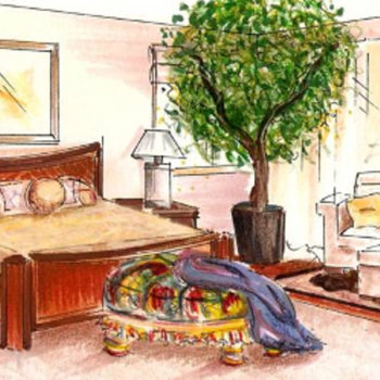 ASID Southern Arizona design competition sketch for master bedroom.
